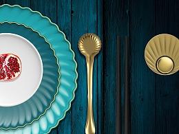 餐具设计——红顶孔雀餐厅