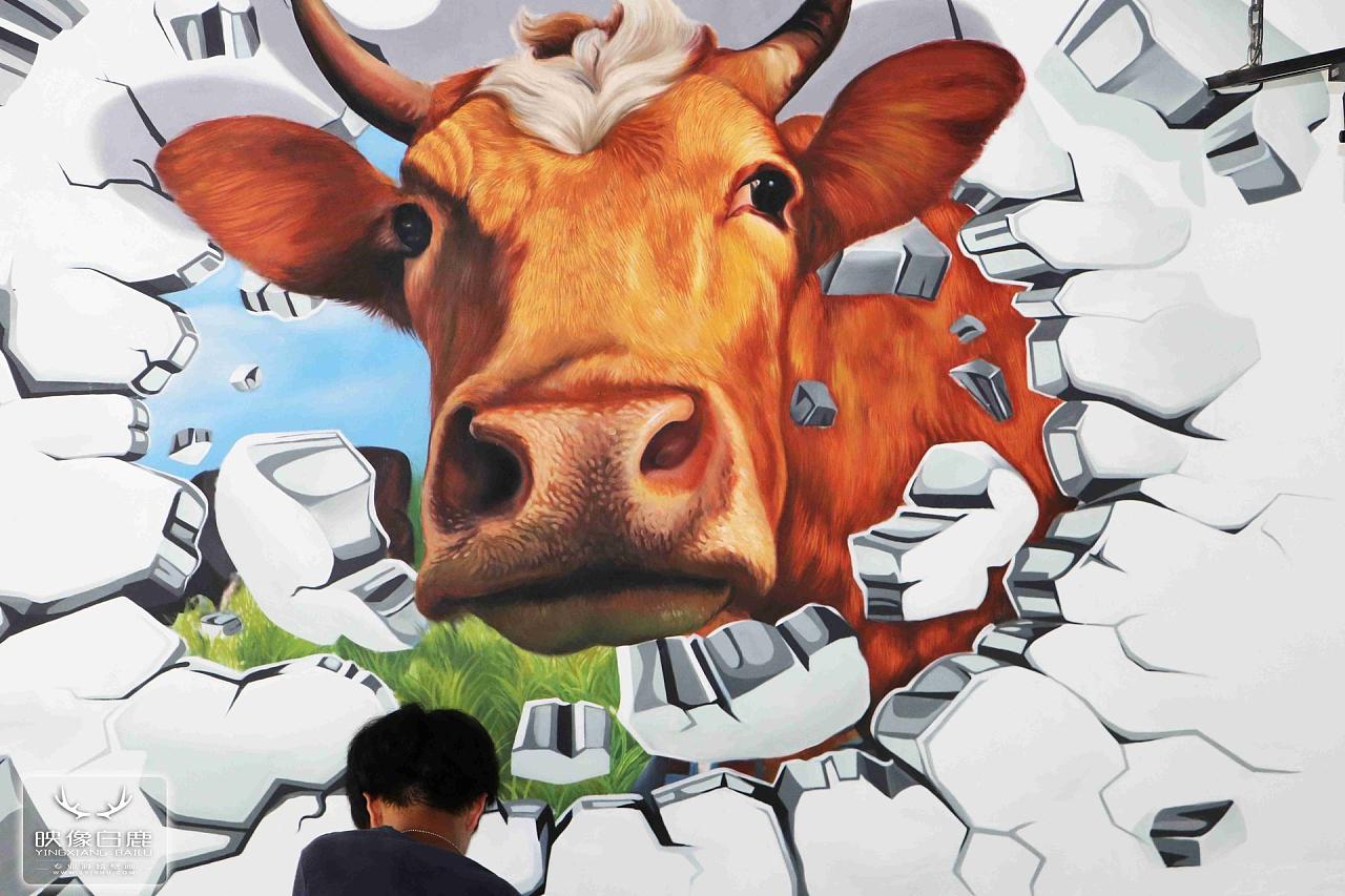 墙绘3d立体画牛牪犇 手绘 3d立体画 牛 彩绘 墙绘
