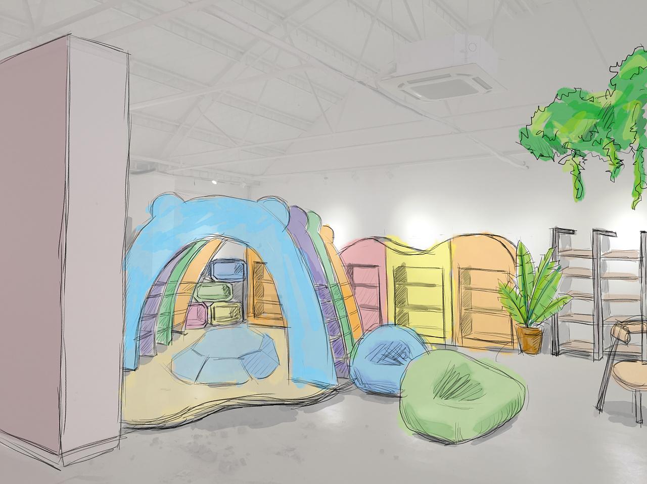 室内设计效果图线手绘_儿童图书馆手绘效果图 空间 室内设计 吉利池昌旭 - 原创作品 ...