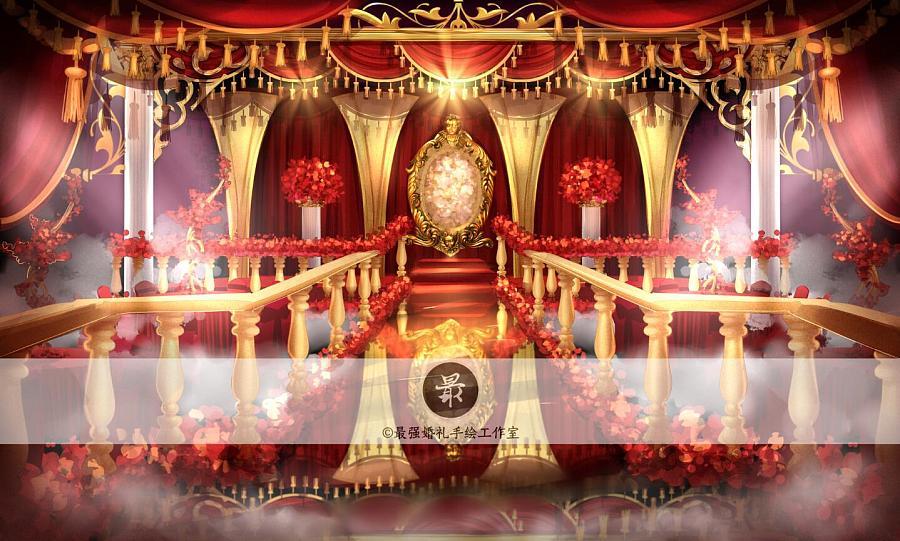 【婚礼手绘】电脑手绘—红金厅内效果图