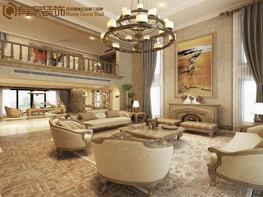 厦门莲花新城复式168平欧式装修风格效果图|室内设计