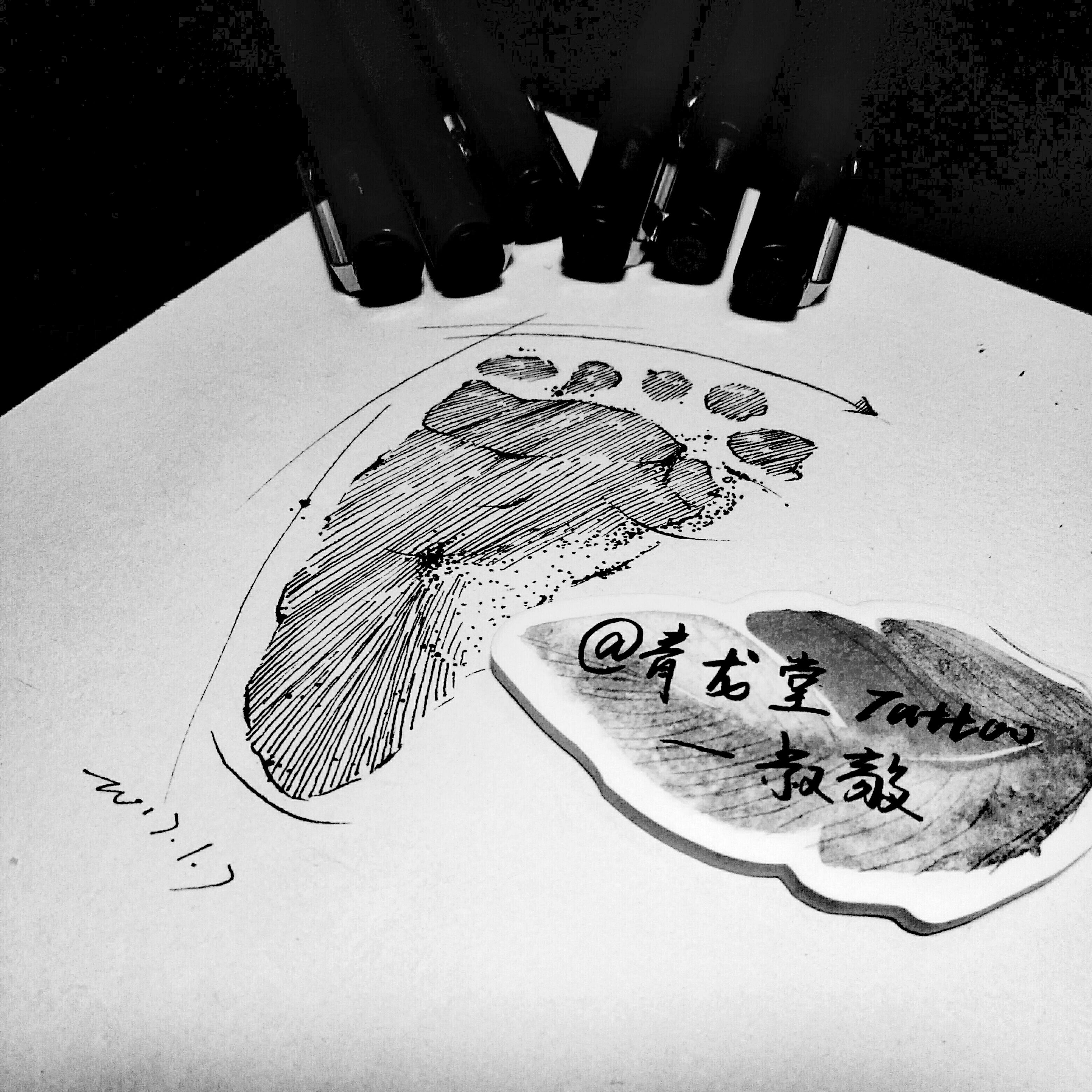 黑白手绘 小清新类纹身手稿