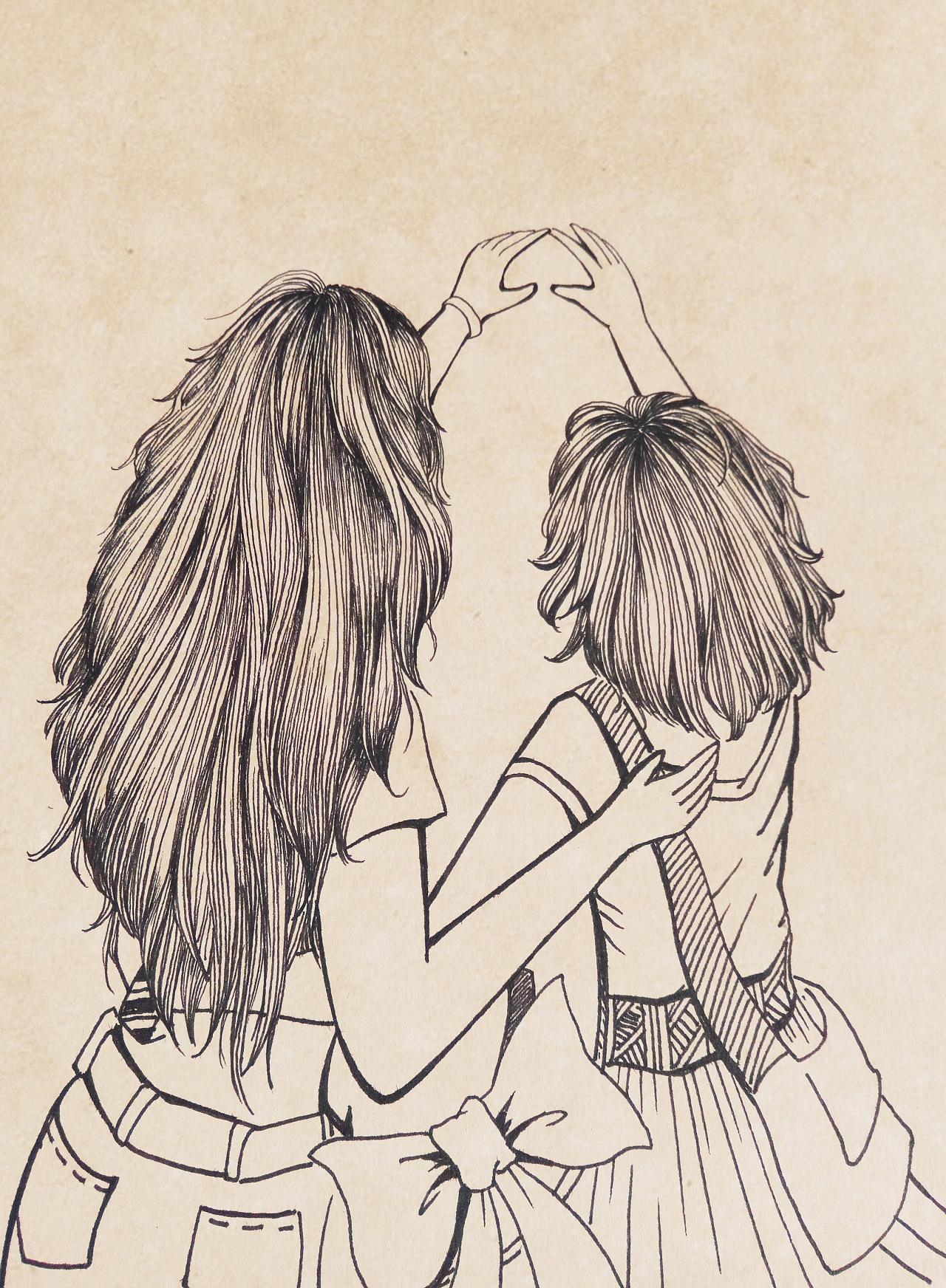 闺蜜简笔画二人手绘