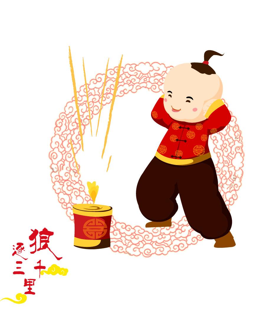 国传统元素插画新年主题简笔画-中国传统元素插画