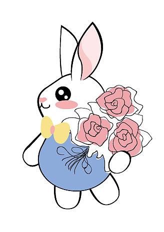 中秋节玉兔送花  ai手绘