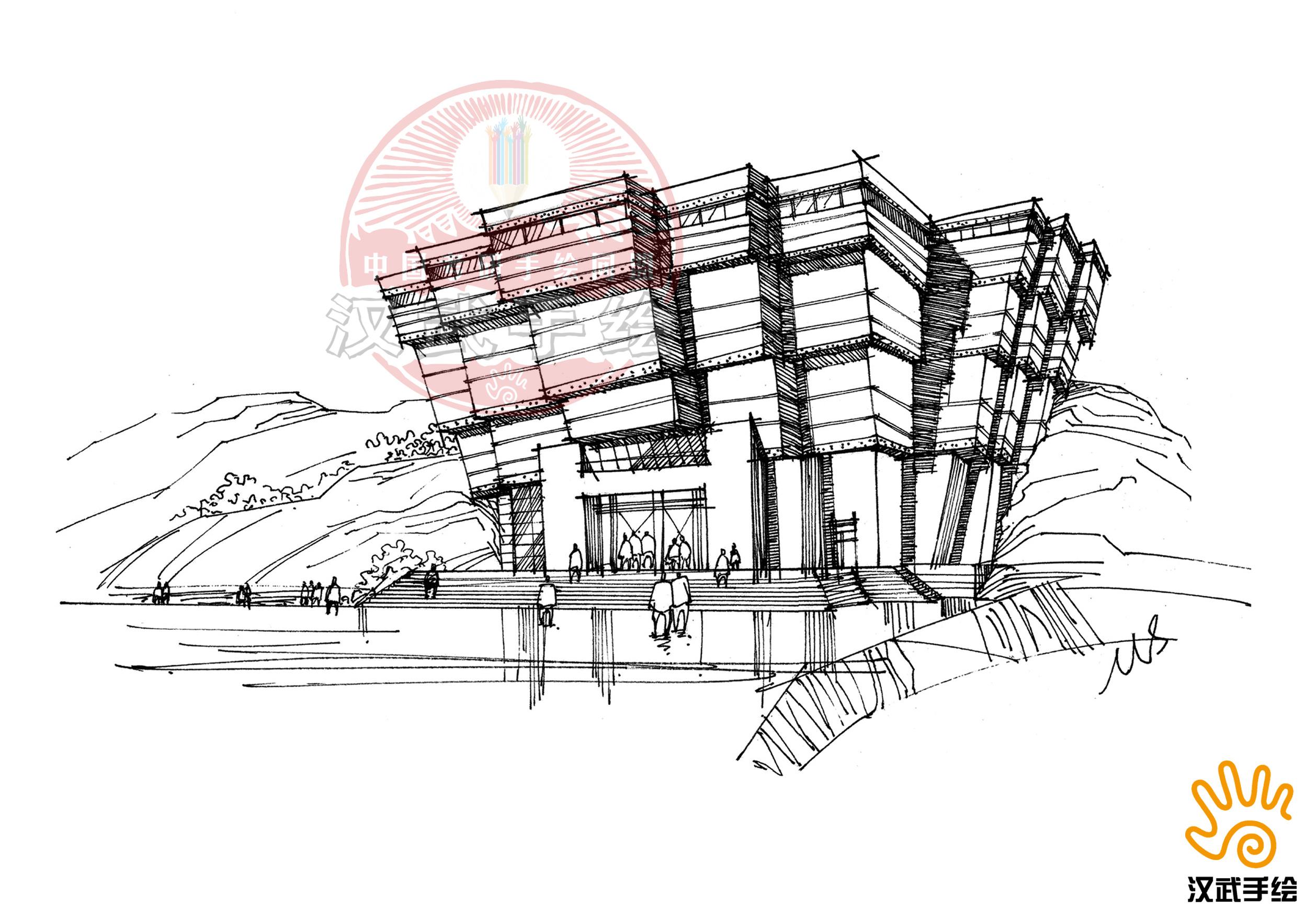 汉武手绘建筑线稿优秀作品