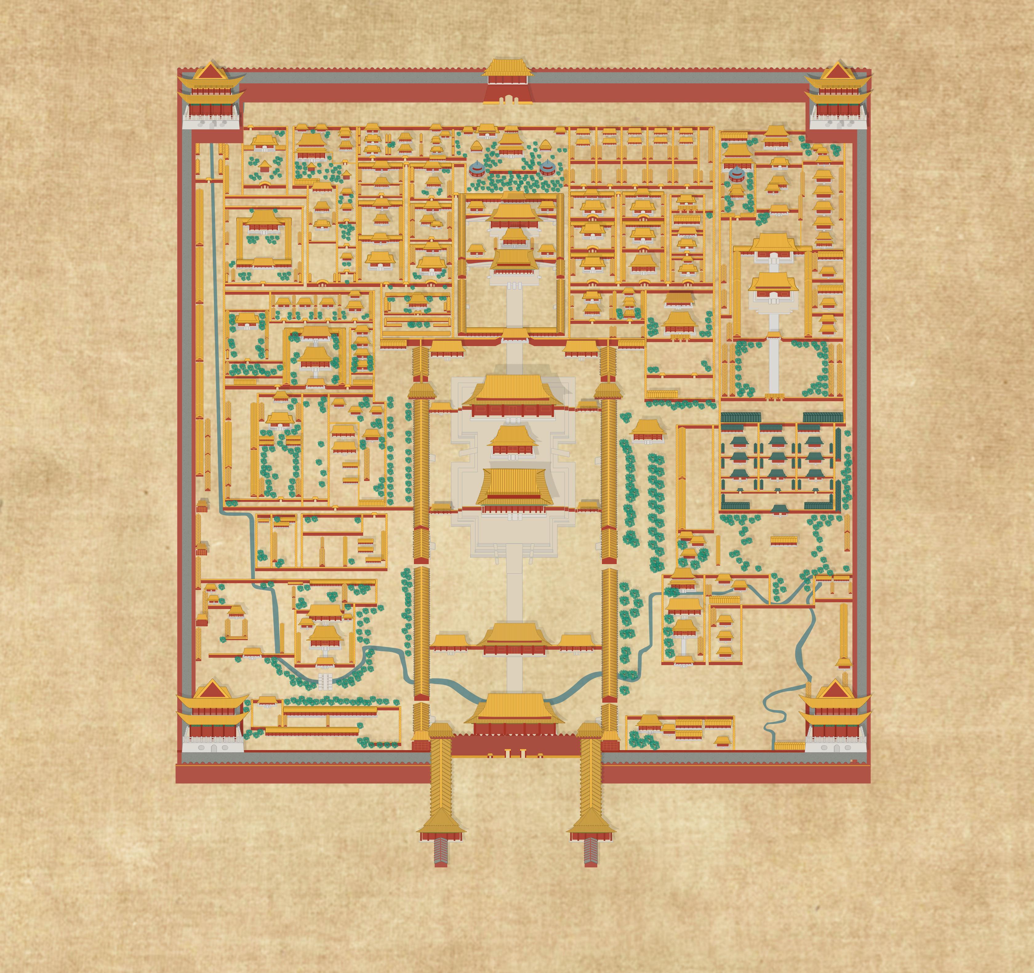 故宫手绘景区导览图