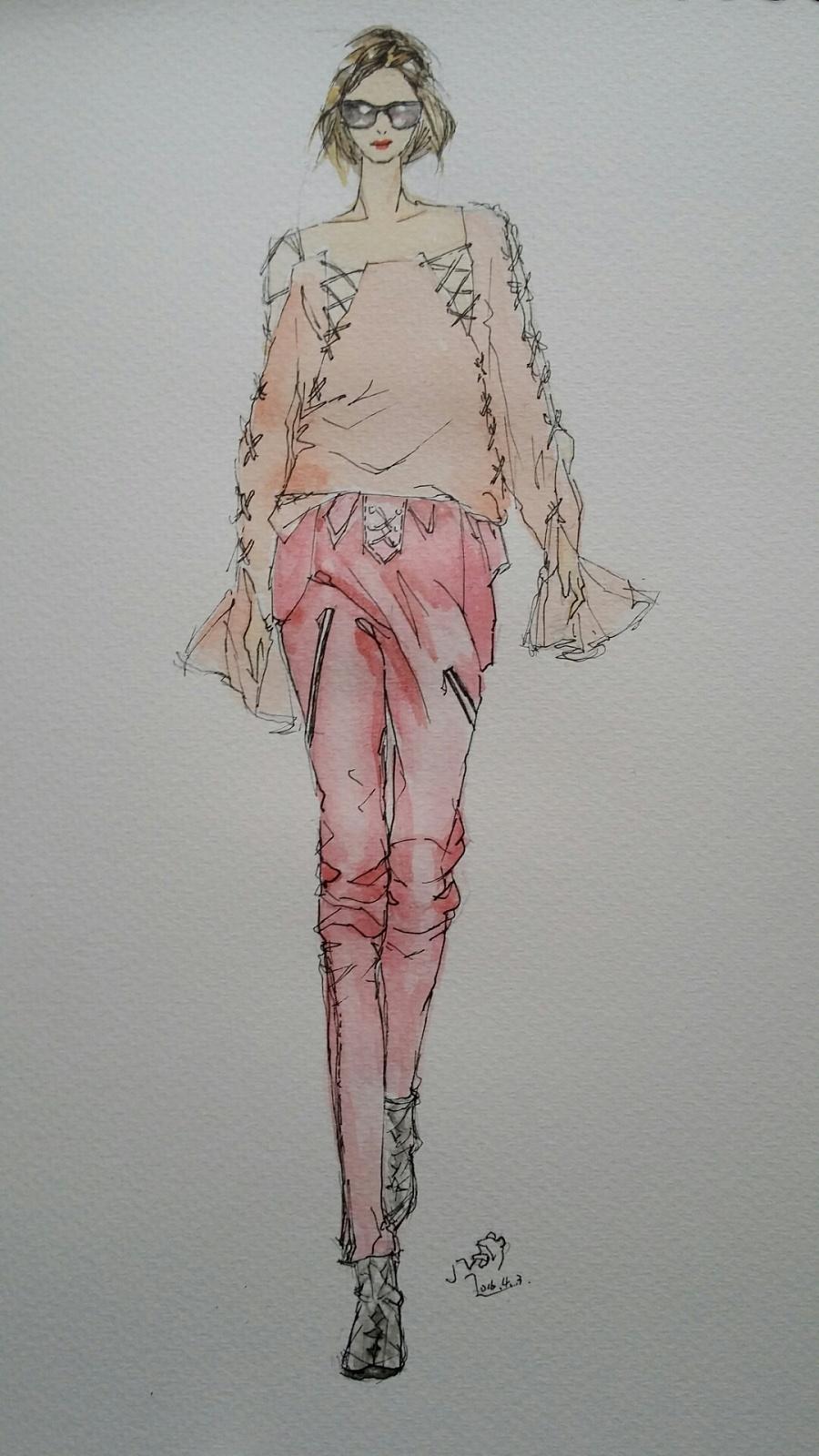 手绘时装插画(春季女装搭配)|休闲/流行服饰|服装|箐