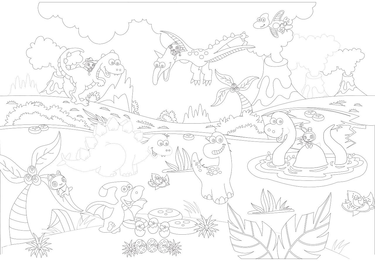 恐龙世界简笔画-秘密花园填色图图例