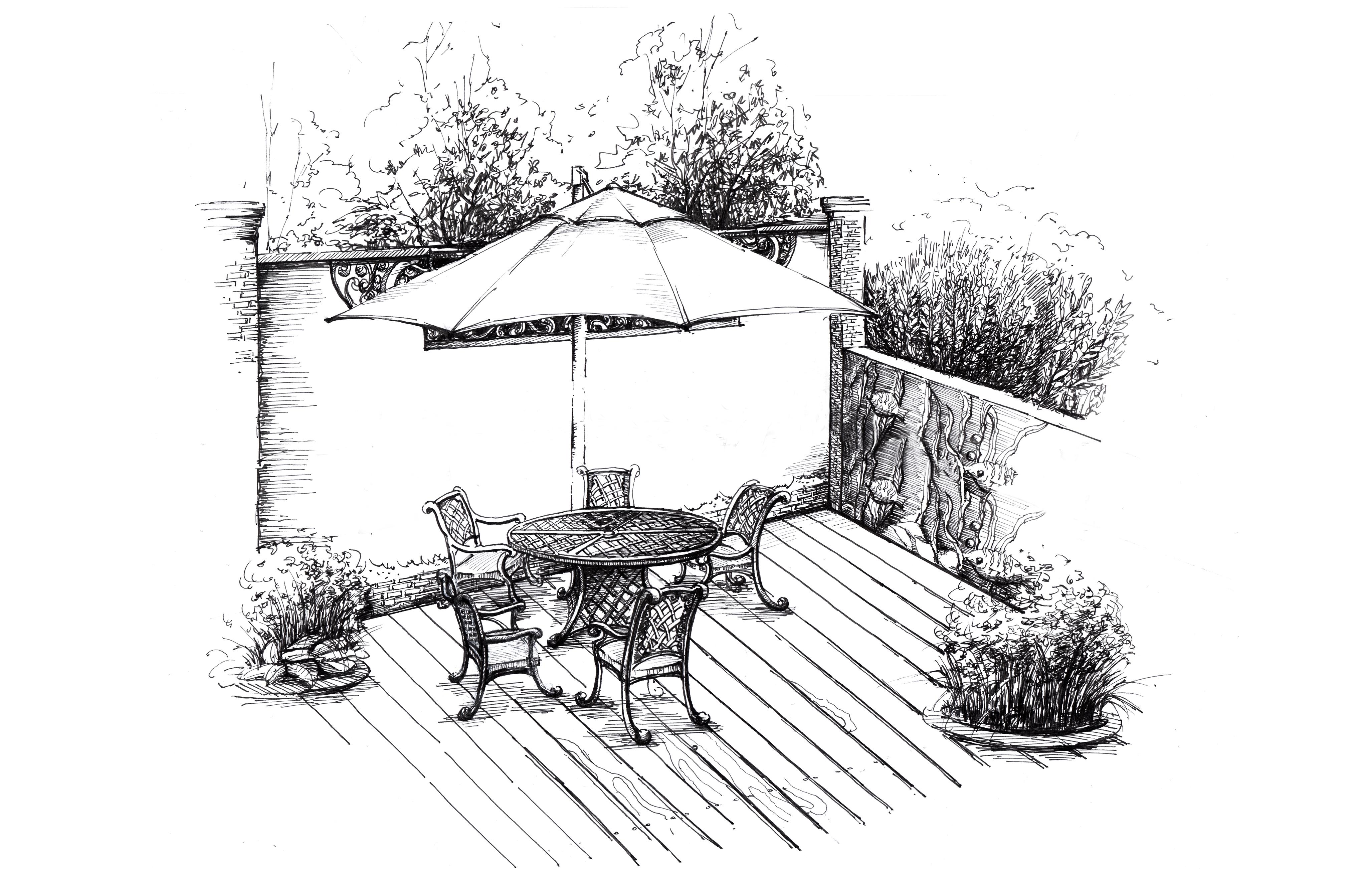 室外小品手绘线稿
