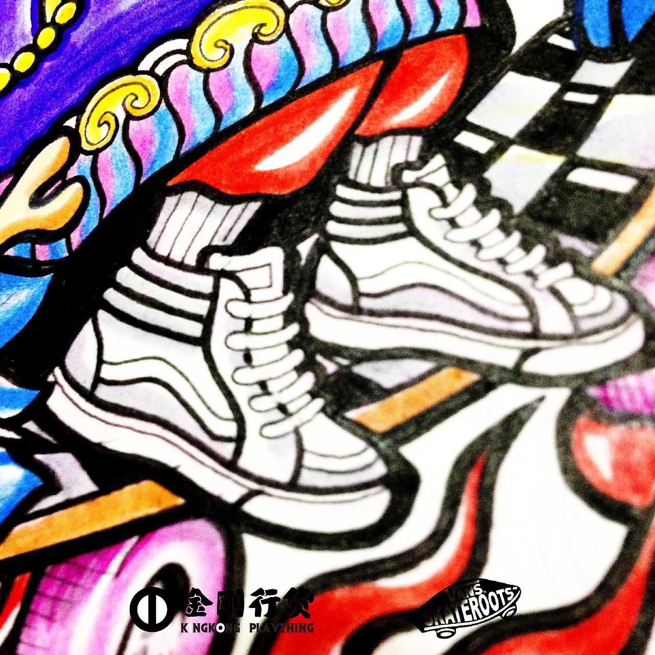 手绘涂鸦插画稿——vans比赛