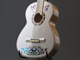 C4D平滑细分建模教程《寻梦环游记》吉他