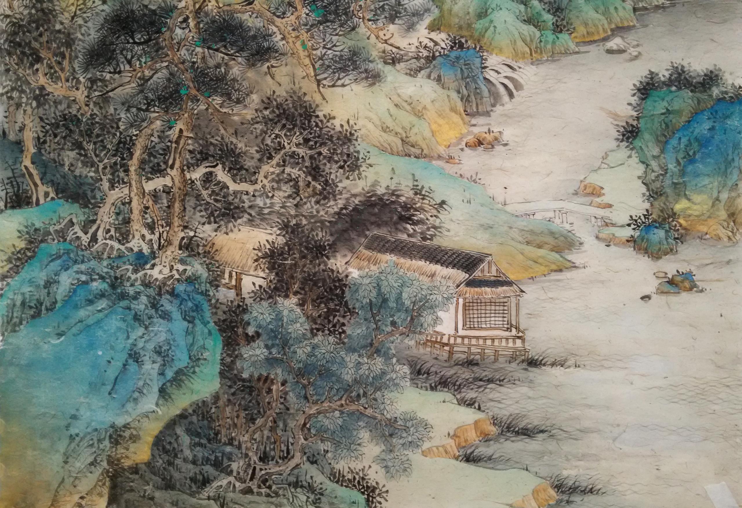 四尺金碧青绿山水 纯艺术 国画 孟振华 - 原创作品图片