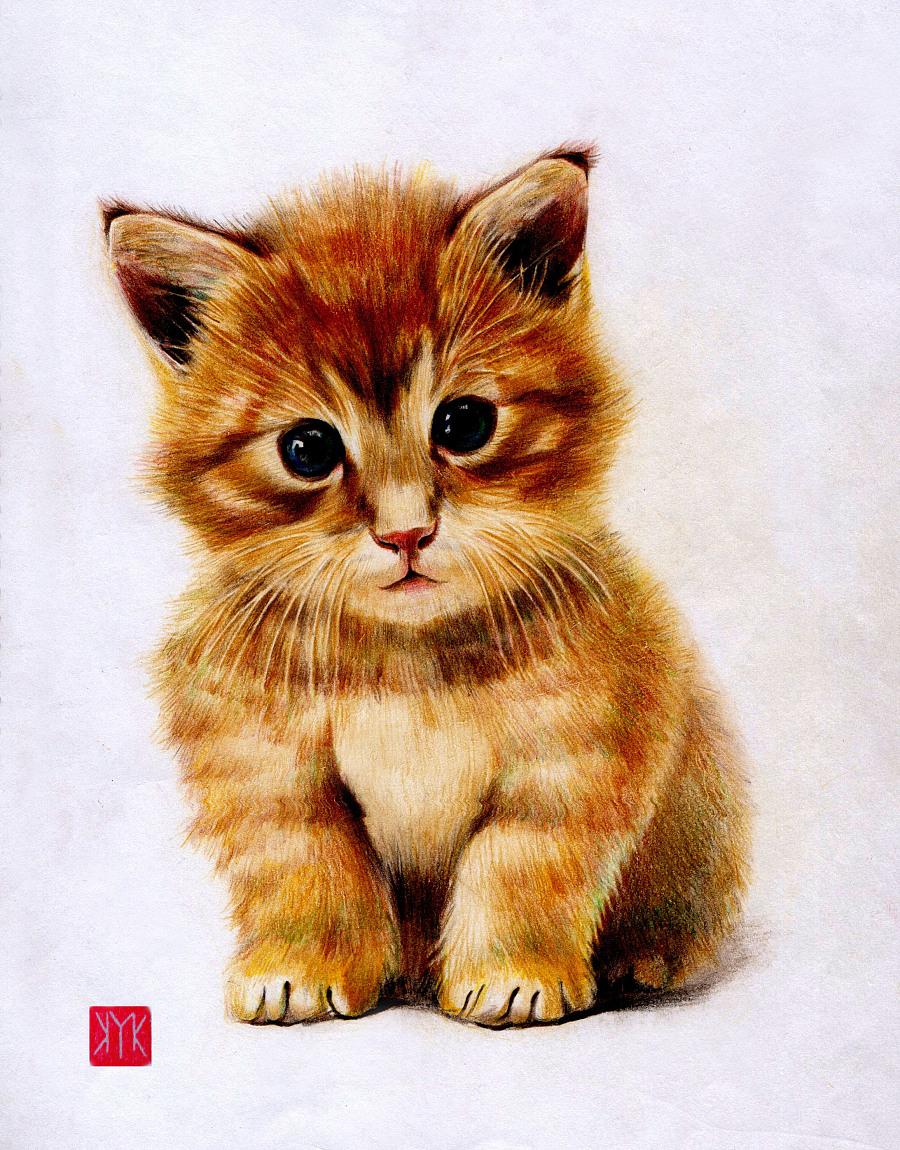 重彩油画棒画动物