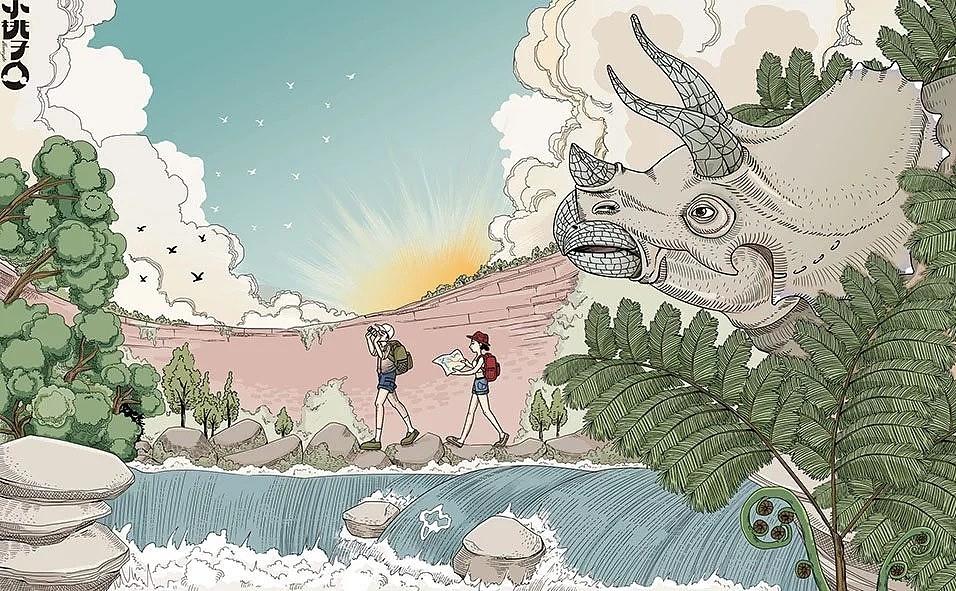 貴州赤水風景插畫