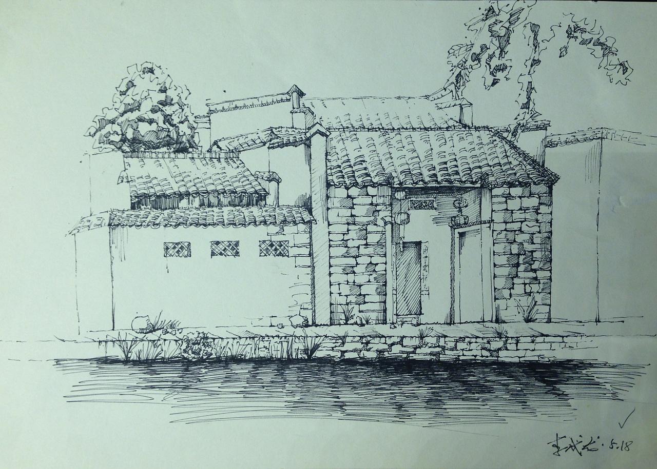 中性笔手绘