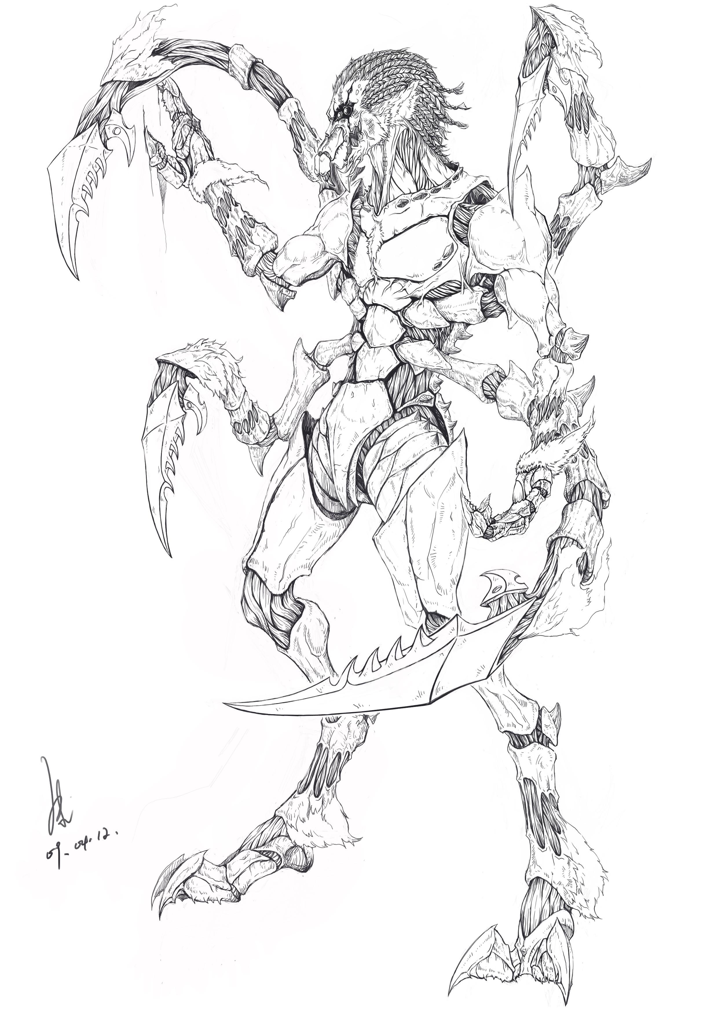 怪物设定_hunter(猎杀者)_黑白线稿