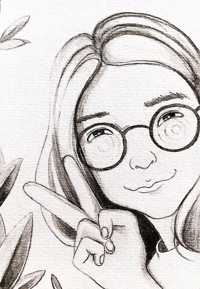 用彩铅笔画的简单的单色人物