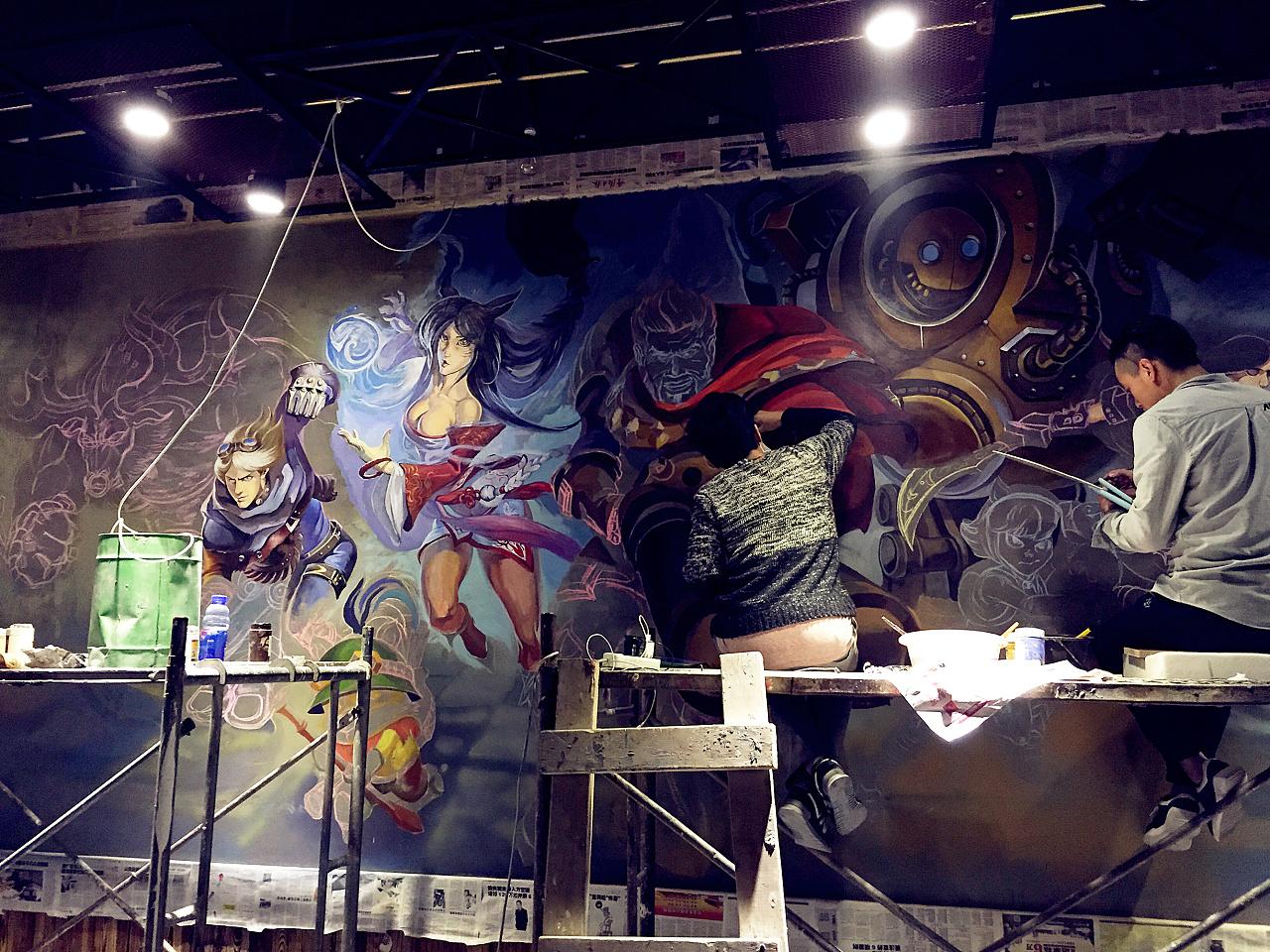 钢铁侠3d立体画 lol英雄联盟手绘墙
