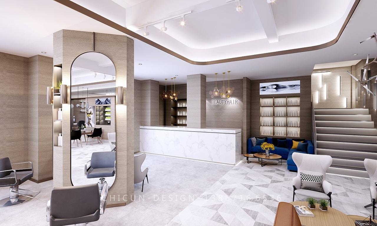 尺寸设计 轻奢风格理发店发廊专业店高大上效果图图片