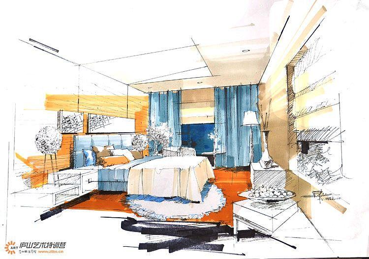 庐山艺术特训营陈红卫老师卧室空间步骤图