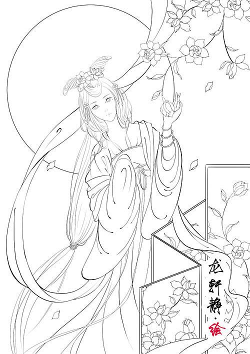 唯美古风美人插画——花月美人系列之栀子