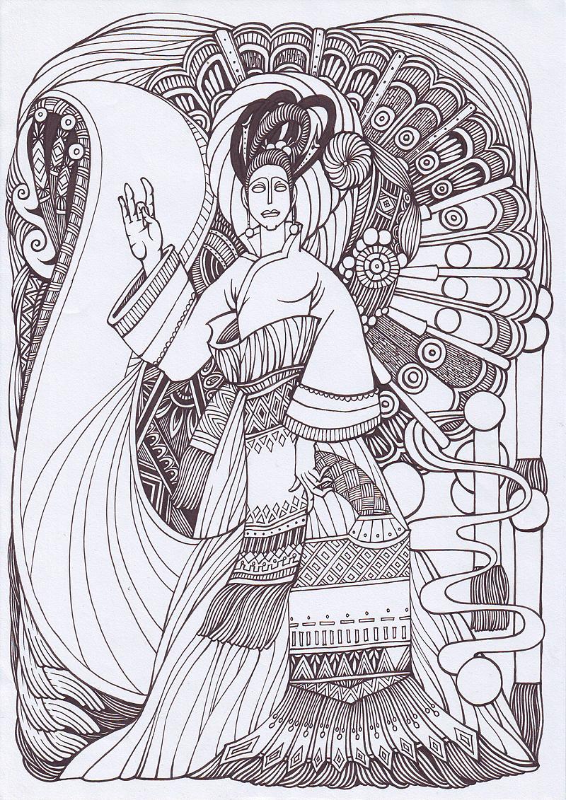 傅纯强 手绘黑白装饰画《盛开》过程图