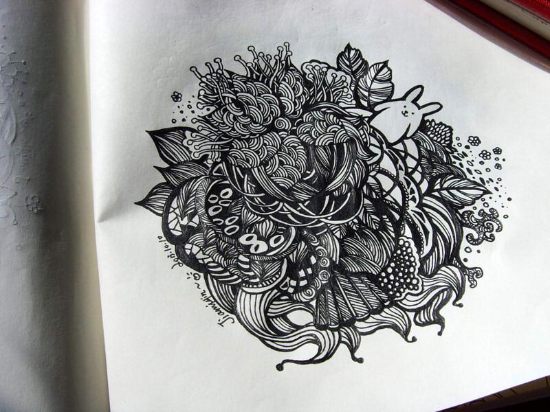 彩色针管笔手绘装饰画