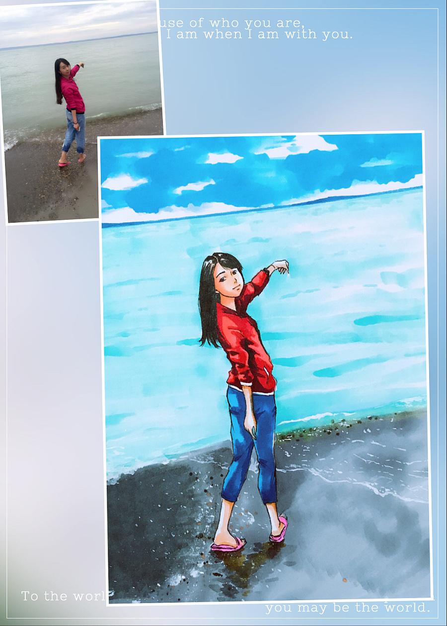 马克笔继续绘制|肖像漫画|动漫|秋山丶 - 原创设计