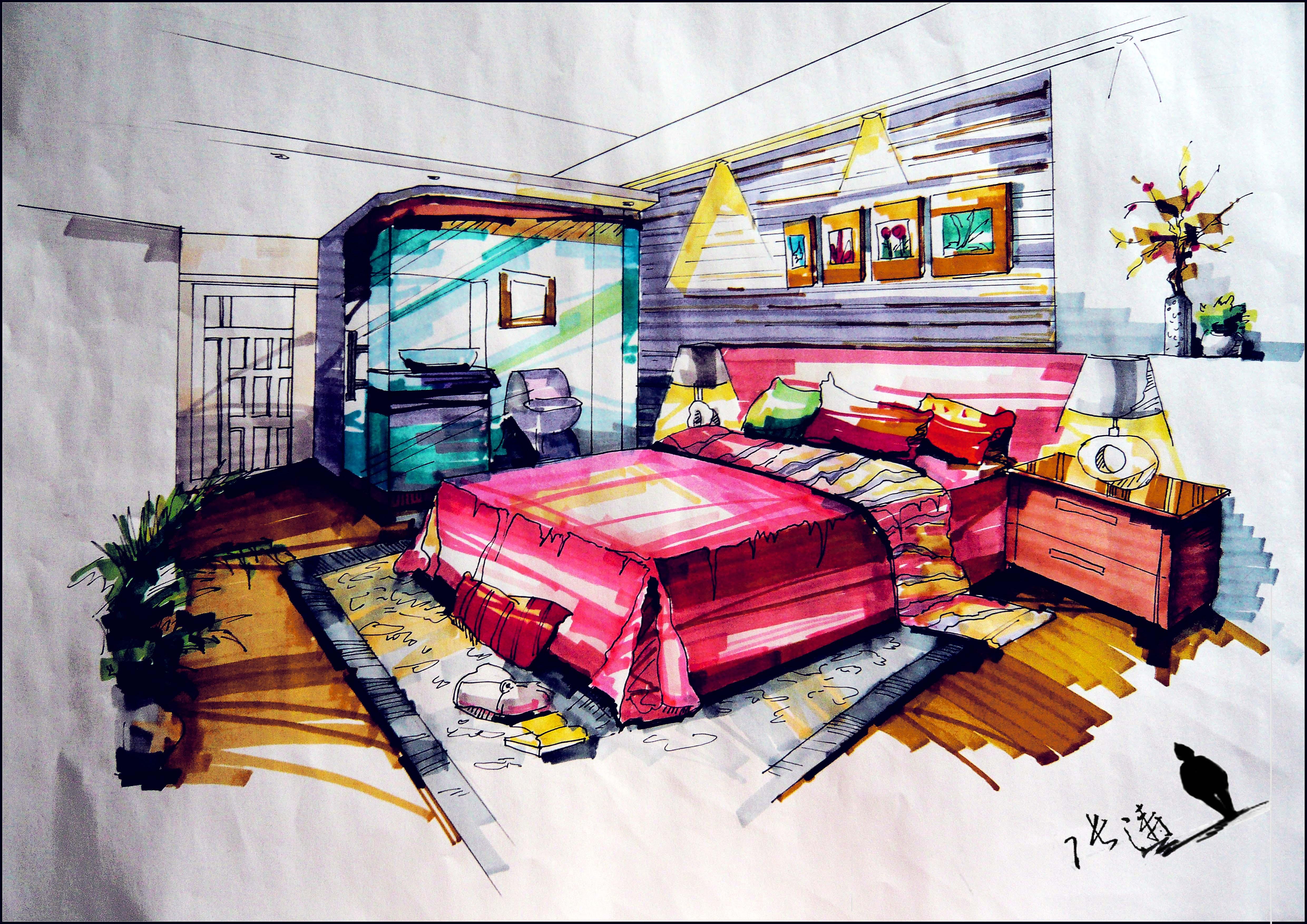 手绘室内效果图