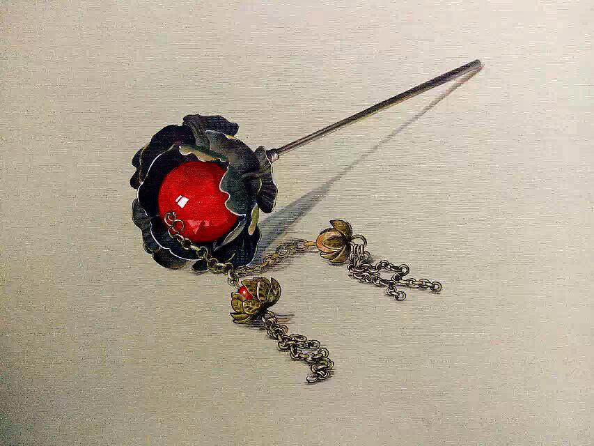 马克笔与彩铅的结合,超写实珠钗