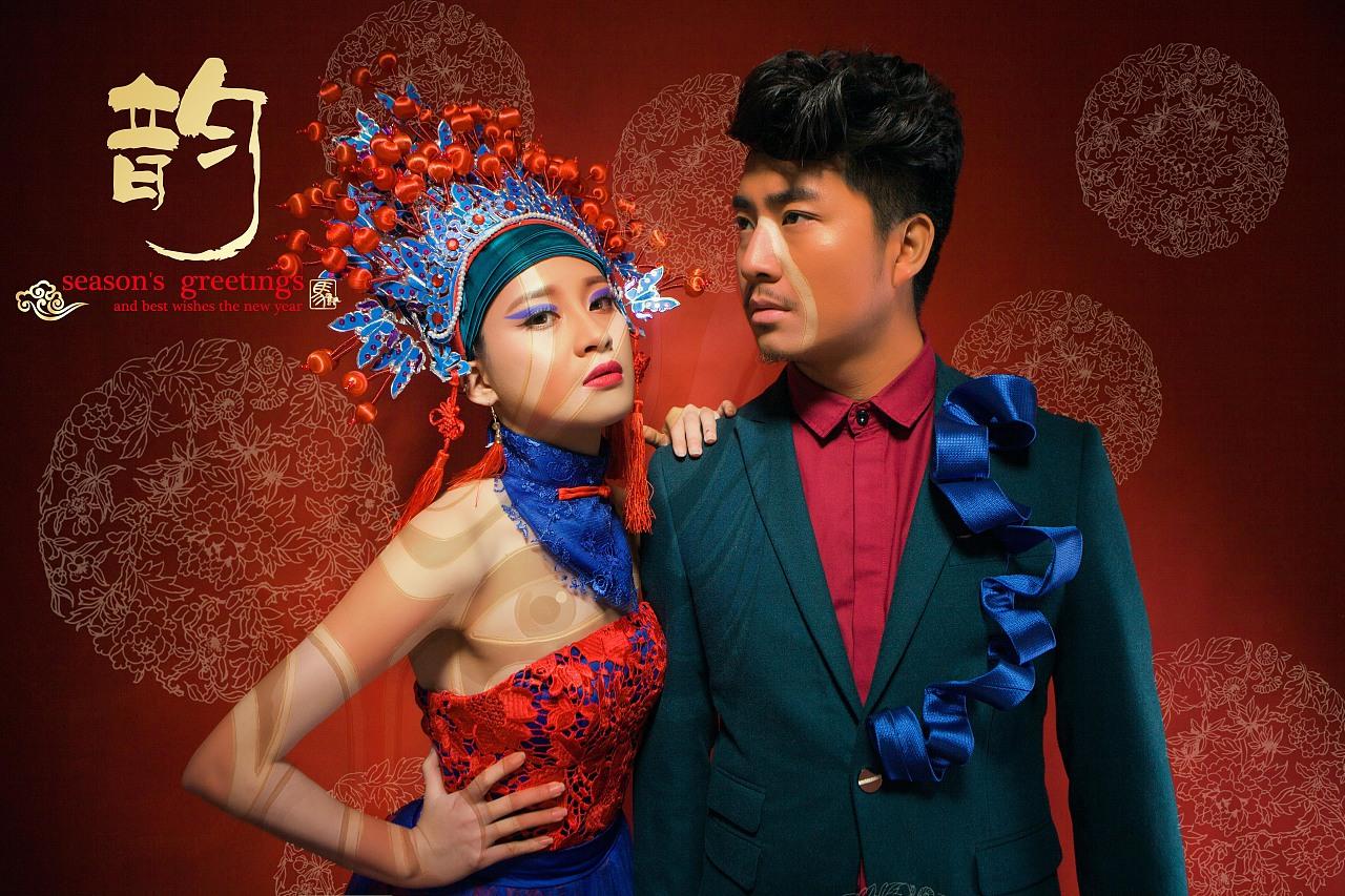 时尚,中国风 、脸谱、艺术照红色北京