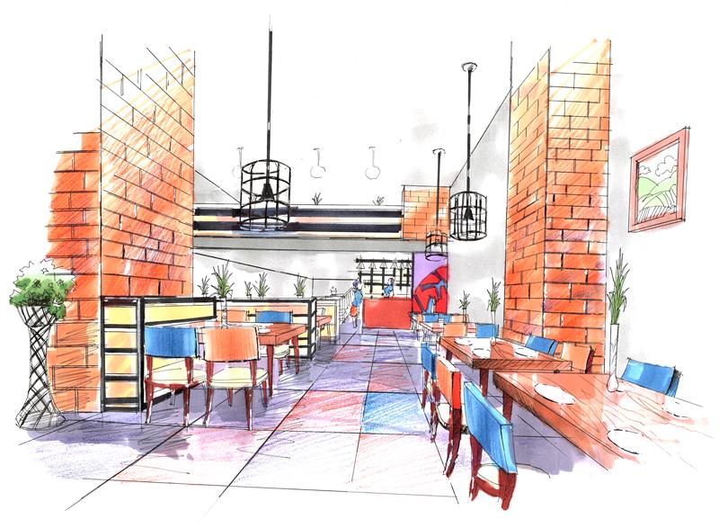 工業風格餐廳前期手繪示意圖|室內設計|空間/建筑
