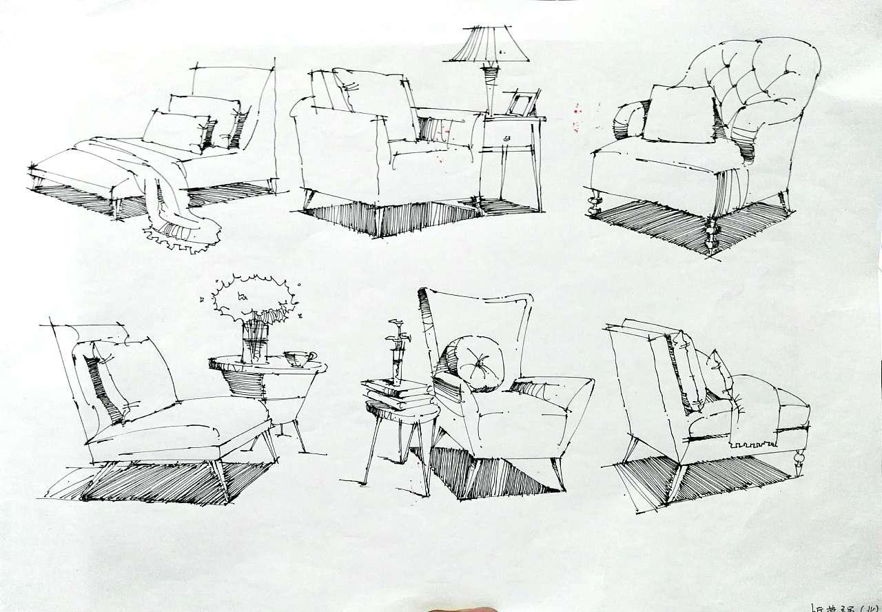 卧室手绘线稿|手绘室内设计效果图|室内设计手绘线稿|室内手绘线稿
