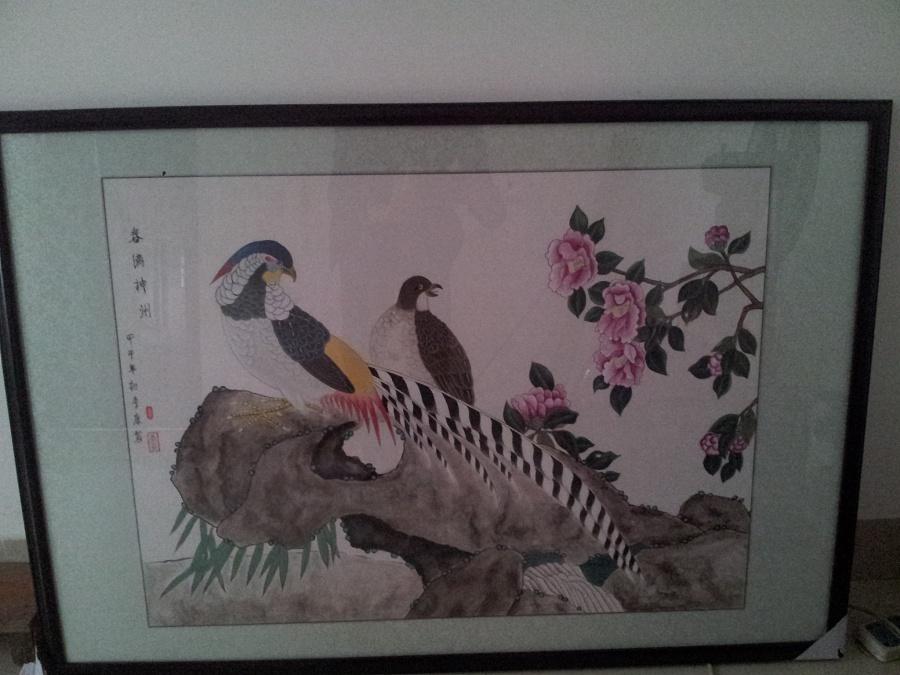 工笔画锦鸡