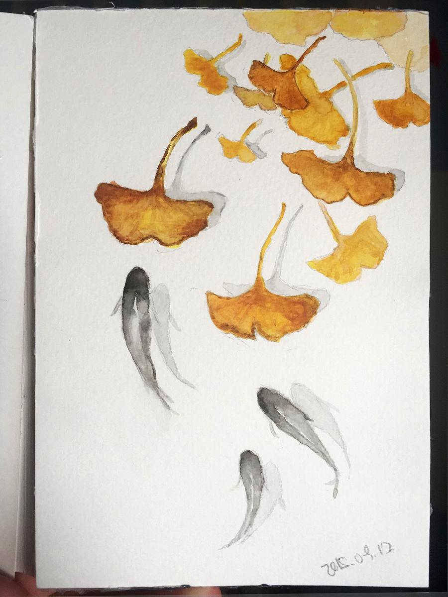 原创作品:水彩手绘练习-杏叶游鱼
