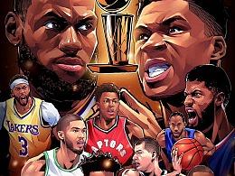 腾讯体育篮球NBA插画集 湖人火箭勇士詹姆斯哈登库里