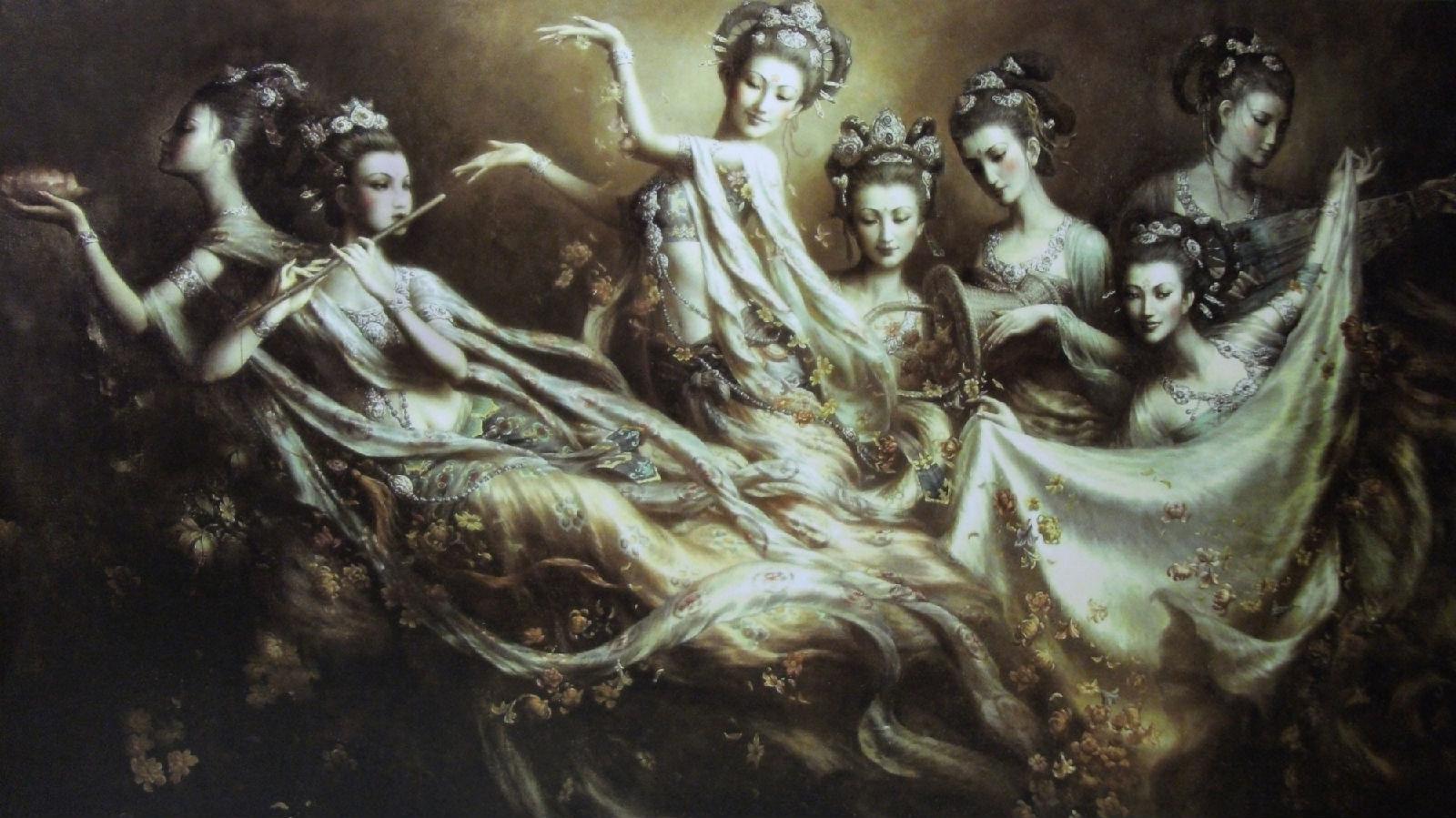 曾浩莫高窟飞天仙女图图片