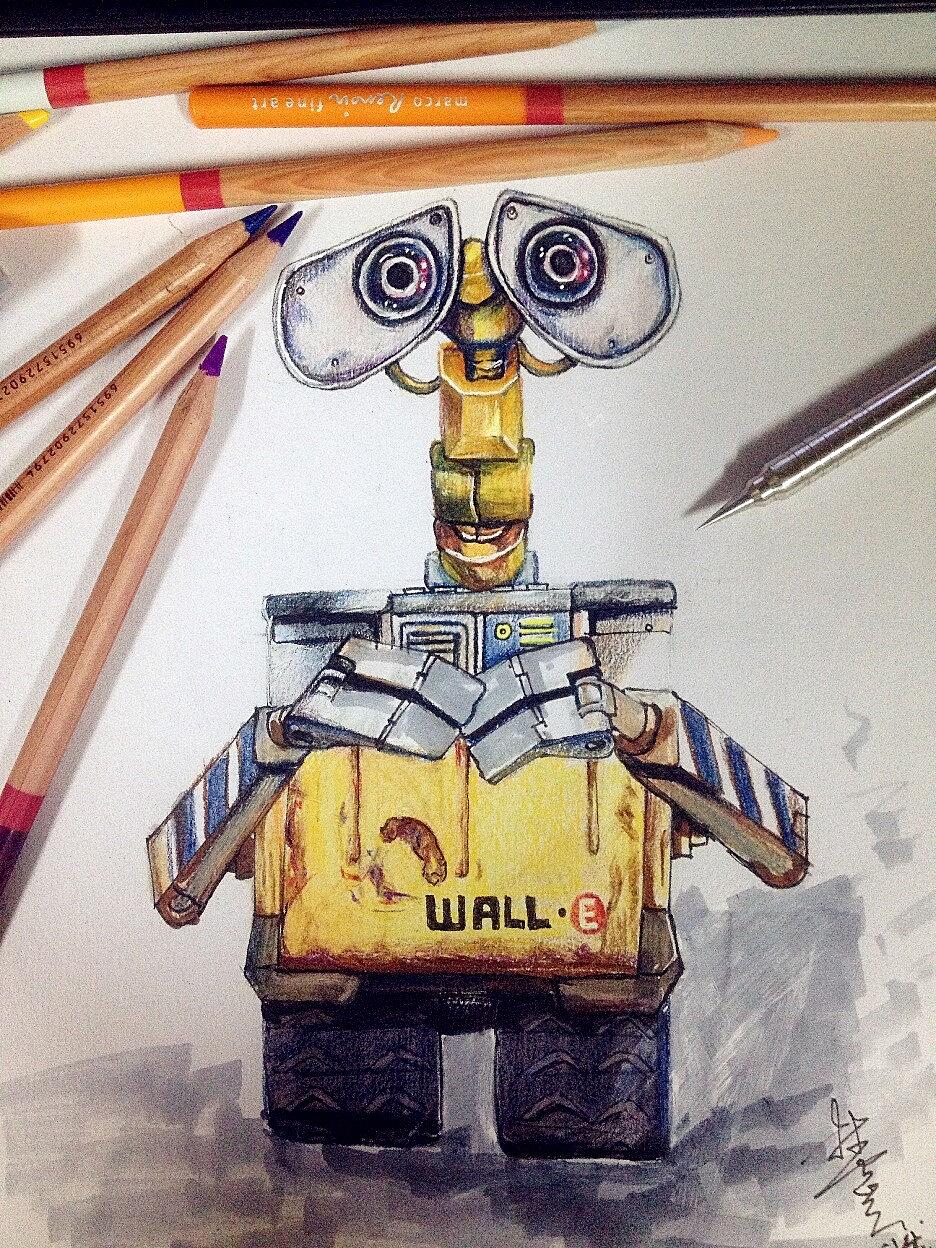 手绘彩铅马克笔~机器人瓦力