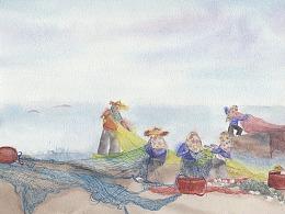 插画水彩-渔村
