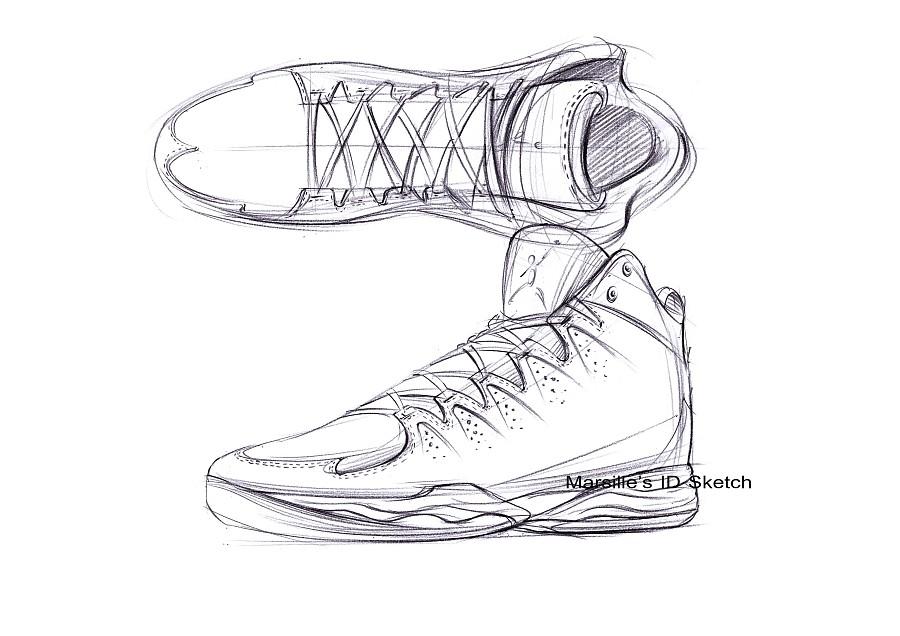 工业产品设计手绘之篮球鞋步鄹图