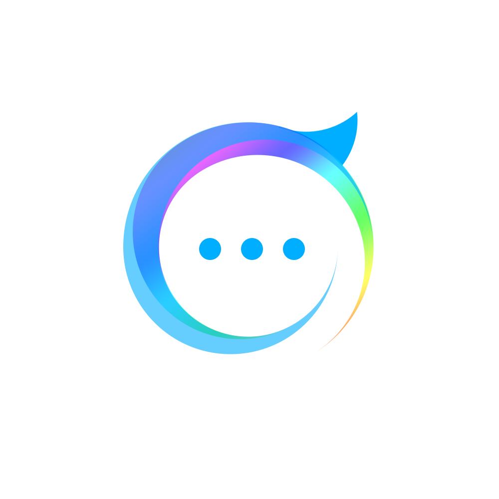 以逗号句号和对话框气泡组合 围绕交流平台的概念设计出这款logo图片