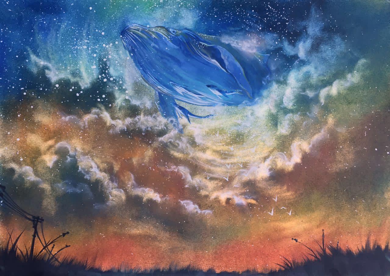 手绘彩星空鲸鱼
