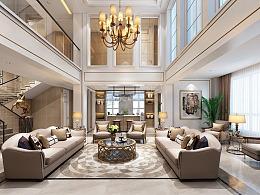 约克郡壹号湖畔联排别墅装修,美式轻奢风格设计效果图