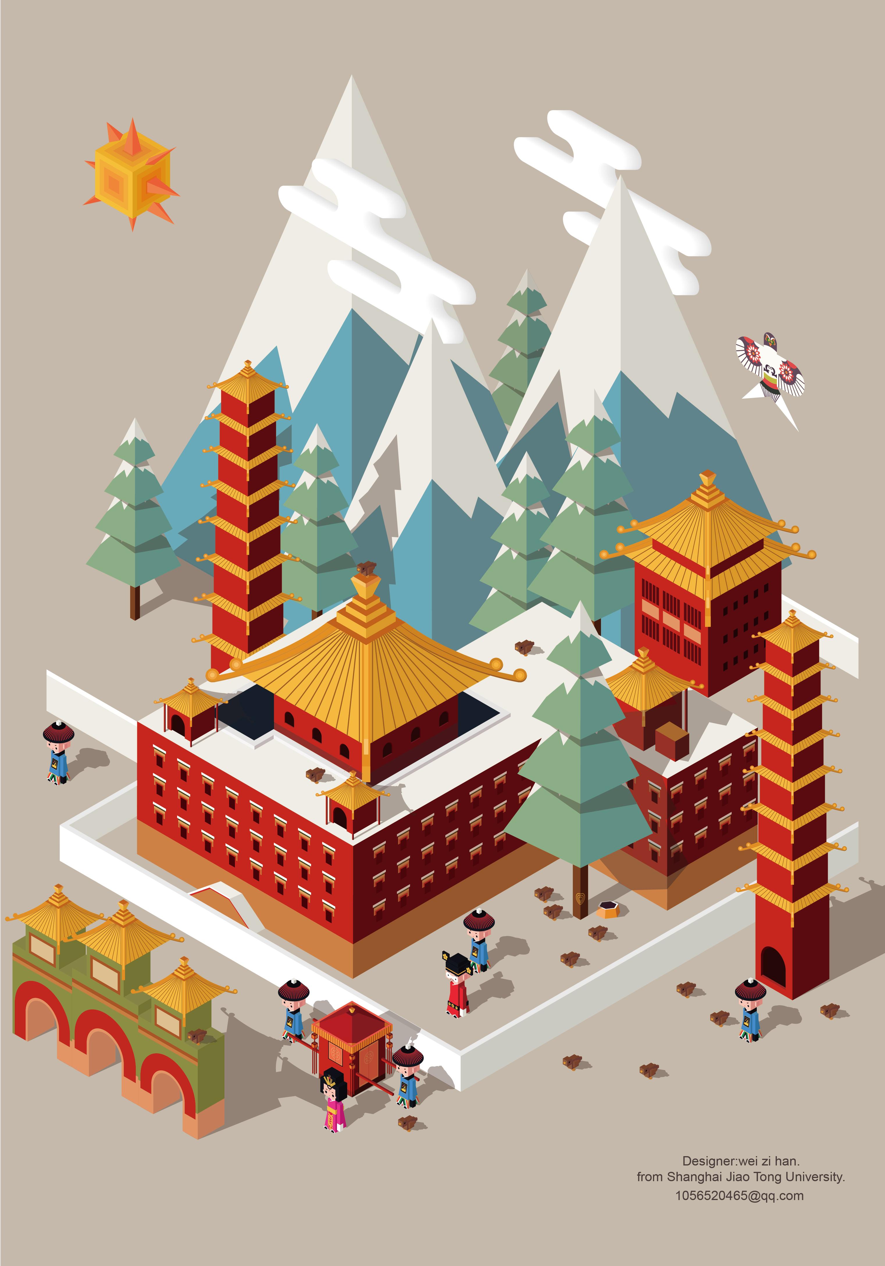 中国传统建筑立体插画