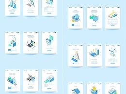 2.5D插画扁平等距立体商务金融科技网页手机UI启动页
