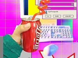 喝可乐-蒸汽波风格-自娱自乐