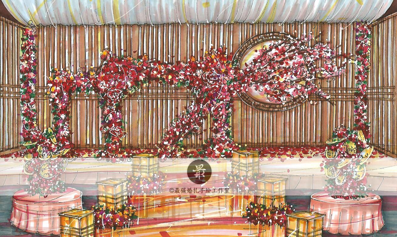 【婚礼手绘】中式马克笔纸面手绘效果图