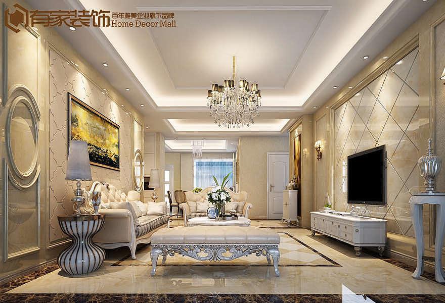 厦门中央美地二手房160平户型欧式装修案例效果图图片