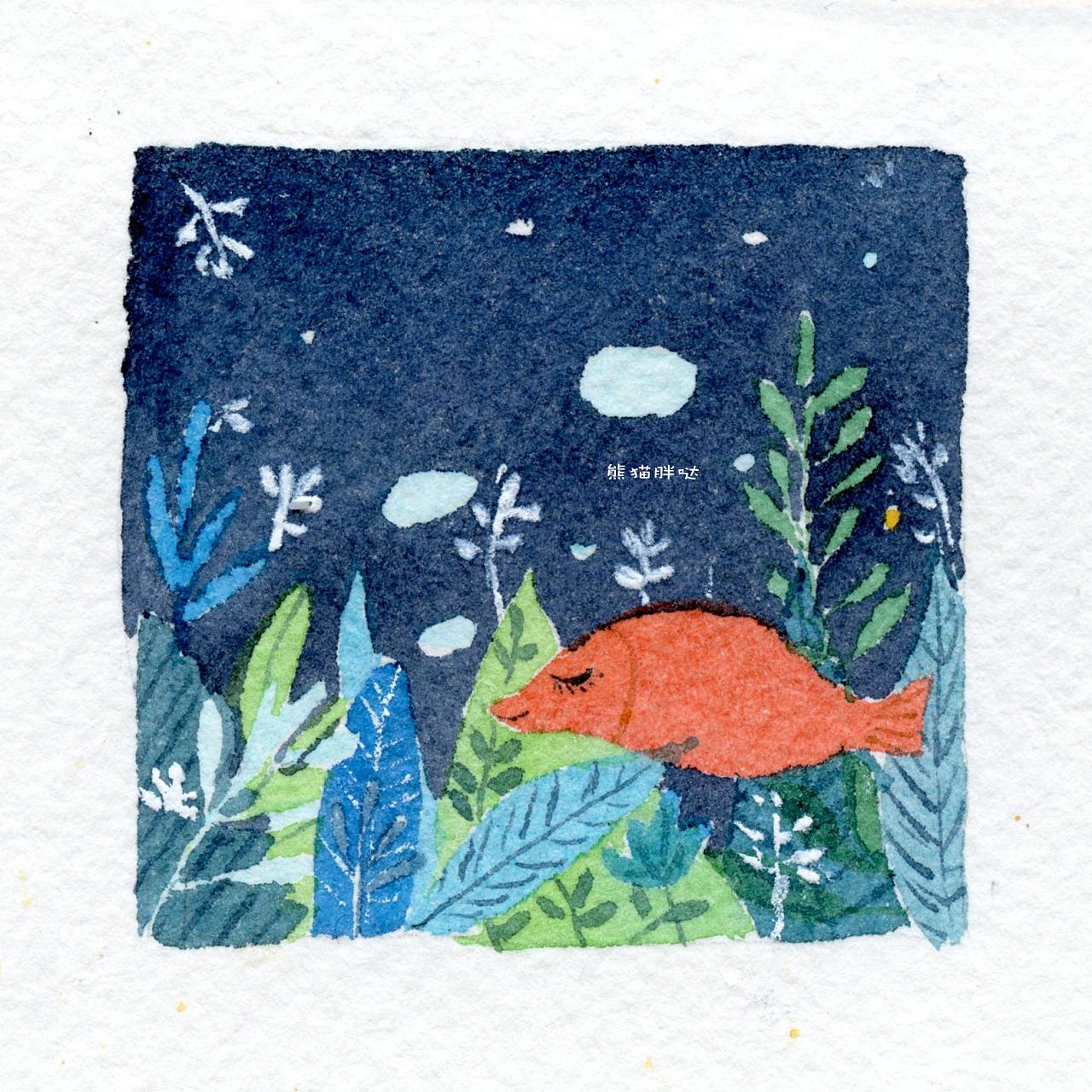 【小熊猫】水彩手绘花卉植物水彩插画教程小清新卡通插画的练成手帐